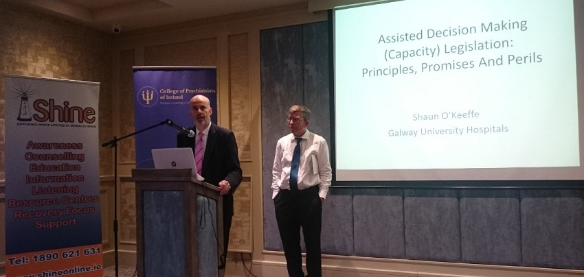 Shine CEO John Saunders (l) introduces Prof. Shaun O'Keefe (r) of Galway University Hospital