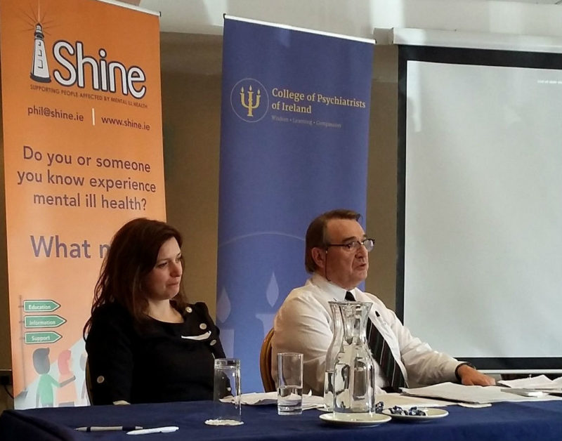 Gina Delaney (Managing Partner, ARI), Liam Hennessy (Head of Service User, Family Member and Carer Engagement in the Mental Health Division) at the joint SHINE and College of Psychiatrists of Ireland conference