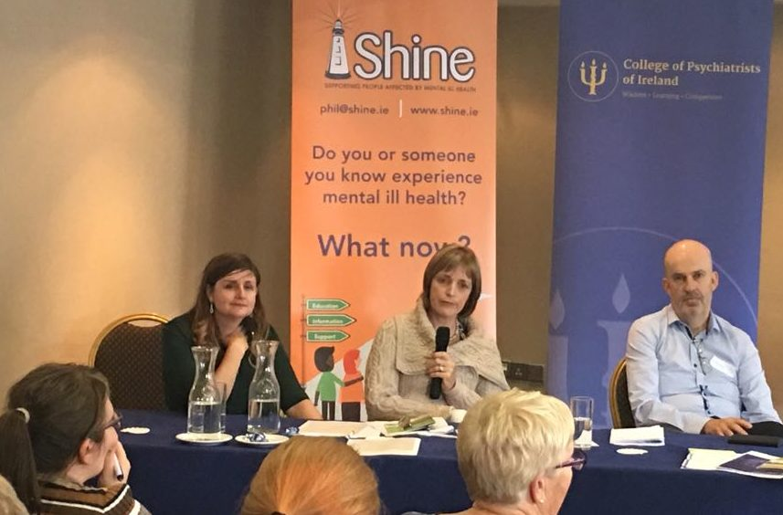 Susan McFeeley, Mary Doyle, John Saunders at the joint SHINE and College of Psychiatrists of Ireland conference