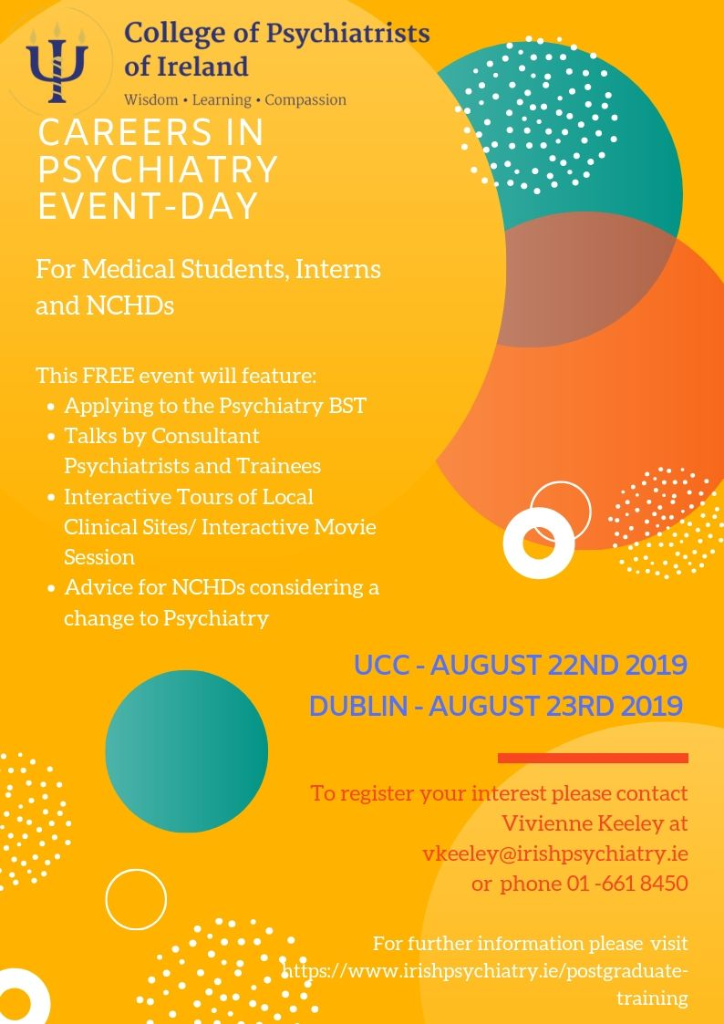 Detaisl of the CPsychI Careers in Psychiatry Events 2019